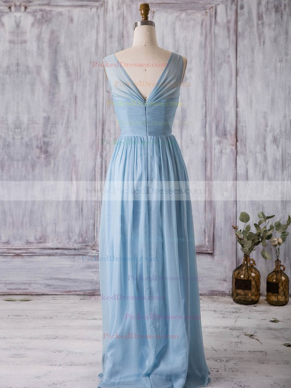 A-line V-neck Floor-length Chiffon with Ruffles Bridesmaid Dresses #PDS01013368