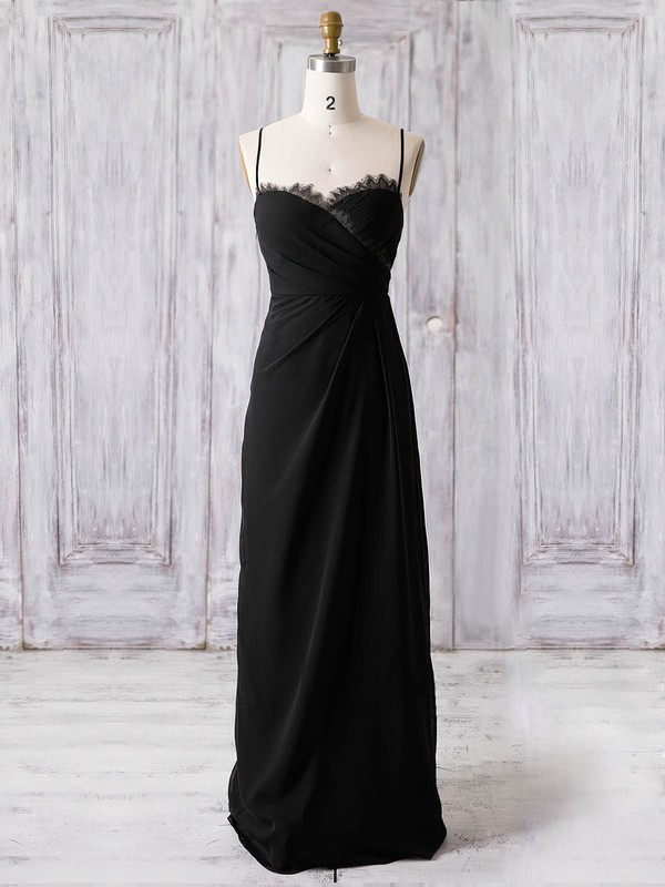 A-line Sweetheart Floor-length Chiffon with Lace Bridesmaid Dresses #PDS01013369