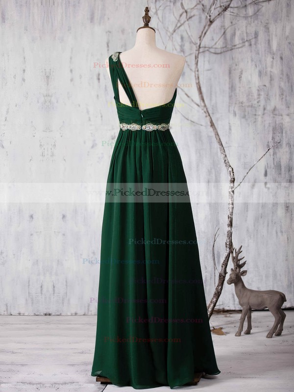 A-line One Shoulder Floor-length Chiffon with Sashes / Ribbons Bridesmaid Dresses #PDS01013371
