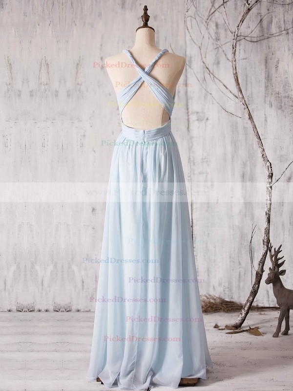 A-line V-neck Floor-length Chiffon with Ruffles Bridesmaid Dresses #PDS01013372