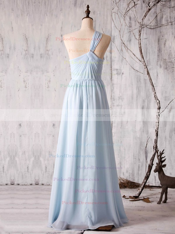 A-line One Shoulder Floor-length Chiffon with Ruffles Bridesmaid Dresses #PDS01013373