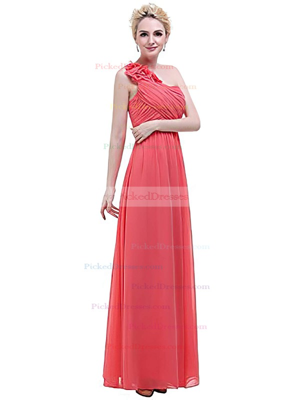Empire One Shoulder Floor-length Chiffon with Flower(s) Bridesmaid Dresses #PDS01013374