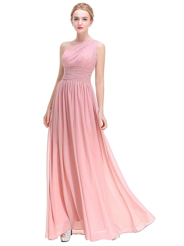 A-line One Shoulder Ankle-length Chiffon with Beading Bridesmaid Dresses #PDS01013375