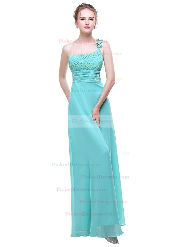 A-line One Shoulder Floor-length Chiffon with Flower(s) Bridesmaid Dresses #PDS01013376
