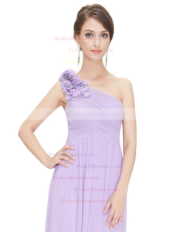 Empire One Shoulder Ankle-length Chiffon with Flower(s) Bridesmaid Dresses #PDS01013377