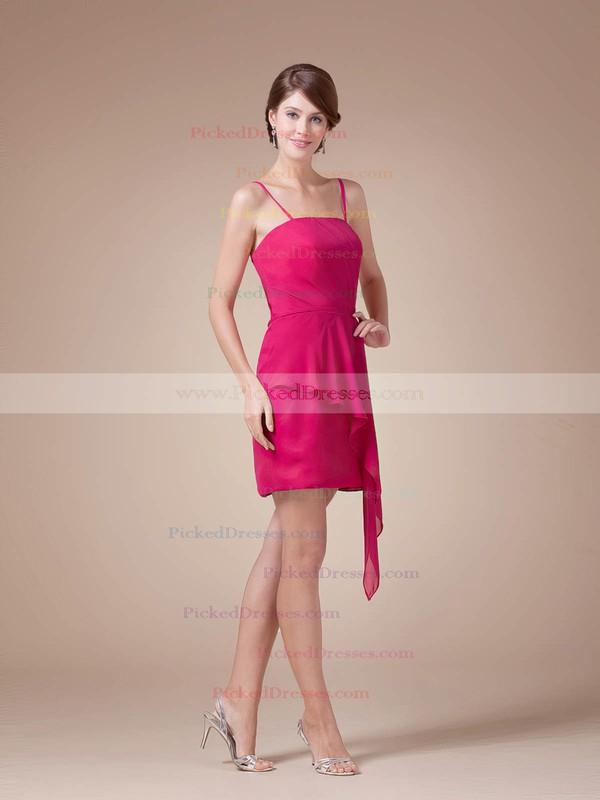 Chiffon Sheath/Column Spaghetti Straps Short/Mini Ruched Bridesmaid Dresses #PDS02041608