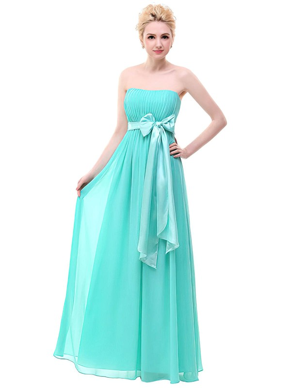 Empire Strapless Floor-length Chiffon with Sashes / Ribbons Bridesmaid Dresses #PDS01013378