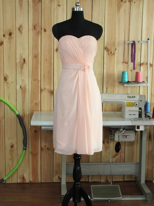 Sheath/Column Sweetheart Short/Mini Chiffon with Sashes / Ribbons Bridesmaid Dresses #PDS01013379