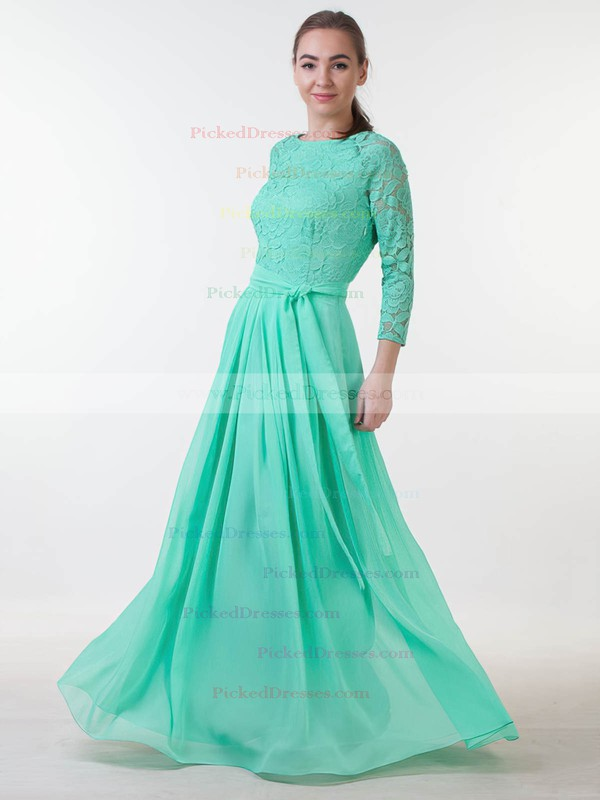 A-line Scoop Neck Floor-length Lace Chiffon with Sashes / Ribbons Bridesmaid Dresses #PDS01013381
