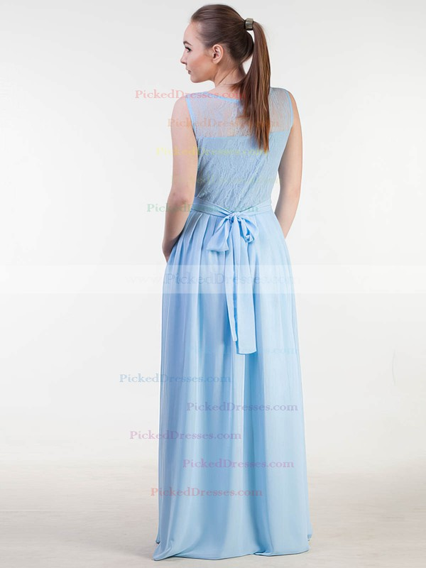 A-line Scoop Neck Floor-length Lace Chiffon with Sashes / Ribbons Bridesmaid Dresses #PDS01013383