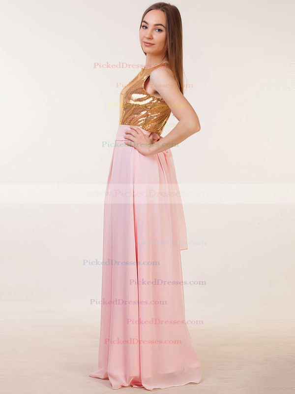 A-line Scoop Neck Floor-length Chiffon Sequined with Sashes / Ribbons Bridesmaid Dresses #PDS01013386