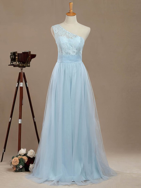 A-line One Shoulder Floor-length Tulle with Lace Bridesmaid Dresses #PDS01013390