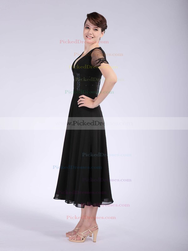 Chiffon A-line V-neck Tea-length Beading Bridesmaid Dresses #PDS02042146