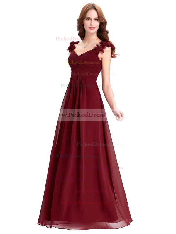 A-line V-neck Floor-length Chiffon with Flower(s) Bridesmaid Dresses #PDS01013393