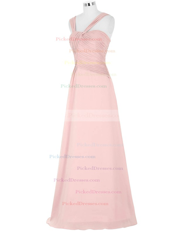 A-line Sweetheart Floor-length Chiffon with Pleats Bridesmaid Dresses #PDS01013395