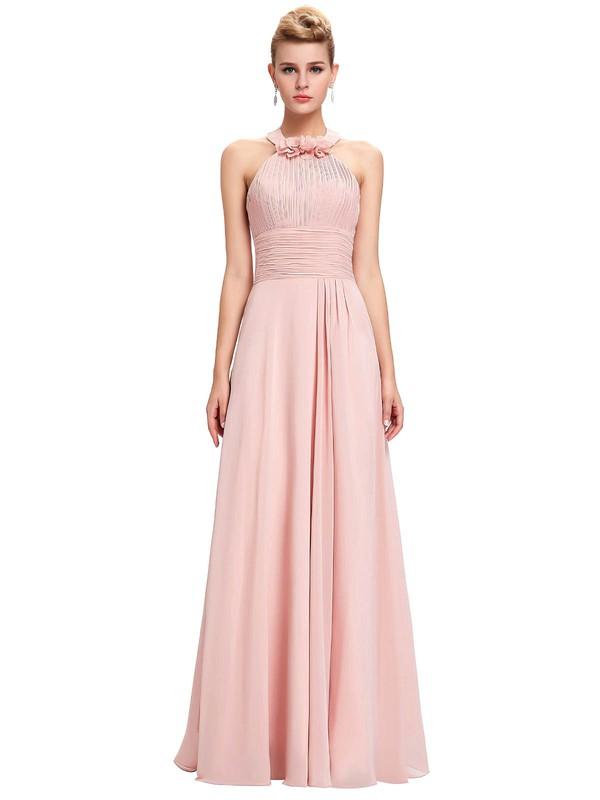 A-line Halter Floor-length Chiffon with Flower(s) Bridesmaid Dresses #PDS01013396