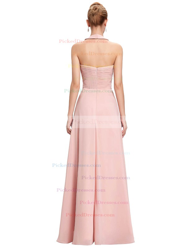 A-line Halter Floor-length Chiffon with Flower(s) Bridesmaid Dresses #PDS01013396