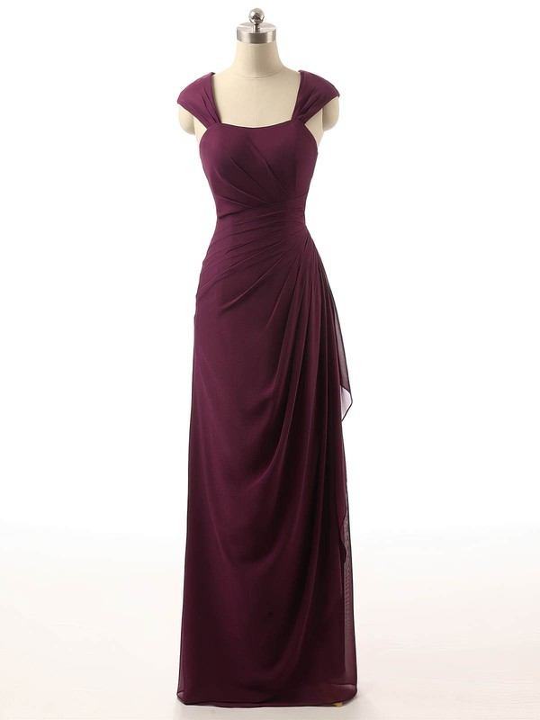 Sheath/Column Square Neckline Chapel Train Chiffon with Ruffles Bridesmaid Dresses #PDS01013398