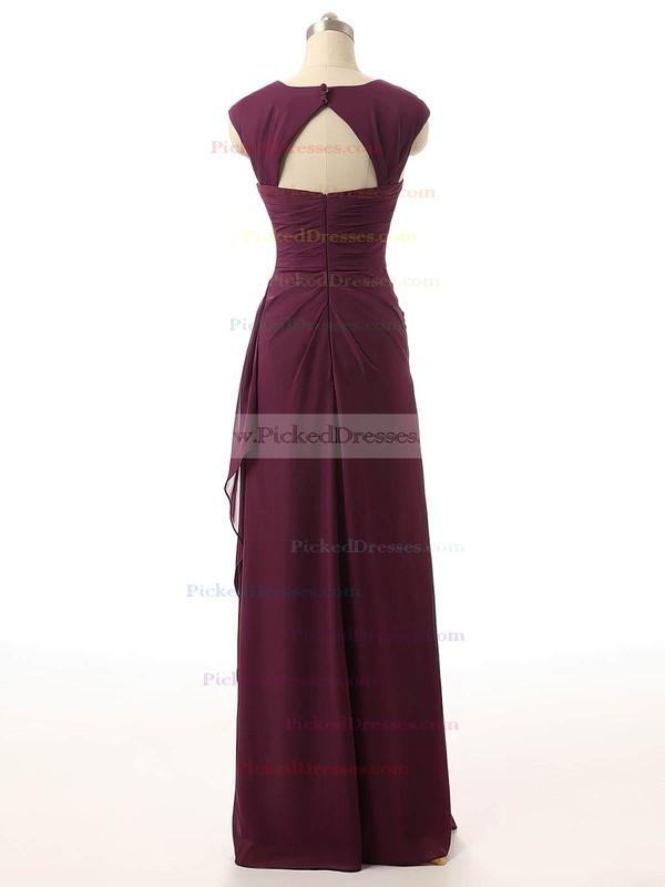 Sheath/Column Square Neckline Chapel Train Chiffon with Ruffles Bridesmaid Dresses #PDS01013398