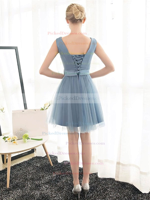 A-line V-neck Short/Mini Tulle with Sashes / Ribbons Bridesmaid Dresses #PDS01013399