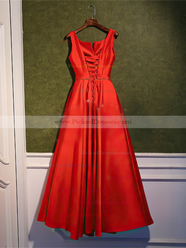 A-line Scoop Neck Ankle-length Satin with Sashes / Ribbons Bridesmaid Dresses #PDS01013400