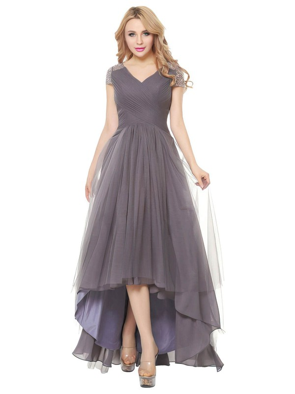 A-line V-neck Asymmetrical Tulle with Beading Bridesmaid Dresses #PDS01013401