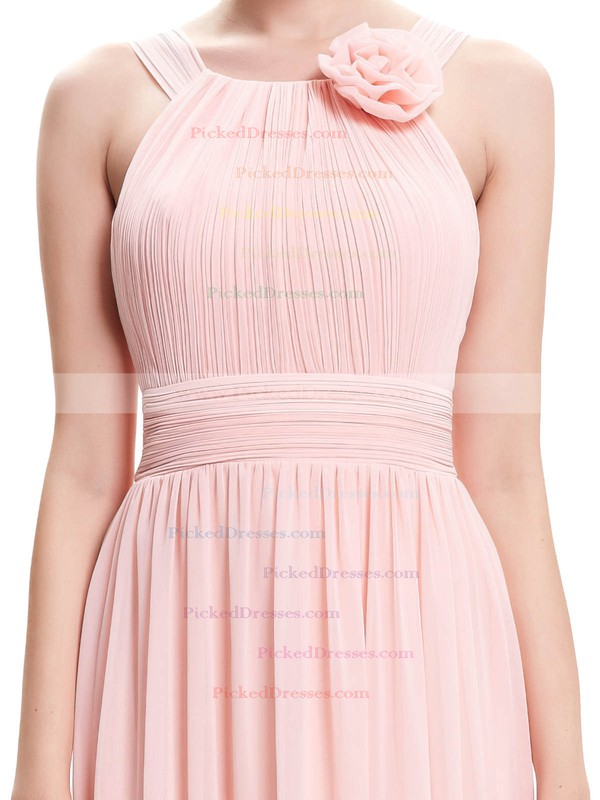 A-line Scoop Neck Floor-length Chiffon with Pleats Bridesmaid Dresses #PDS01013402