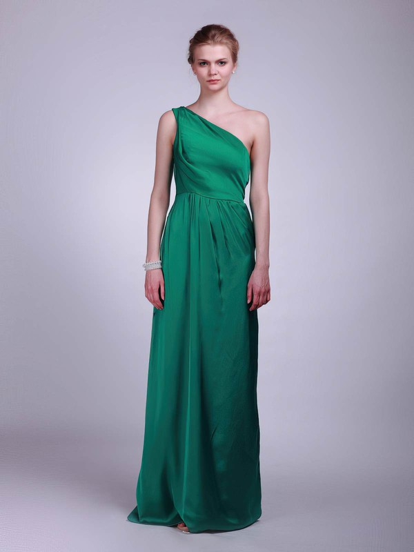 Satin A-line One Shoulder Floor-length Draping Bridesmaid Dresses #PDS02013609