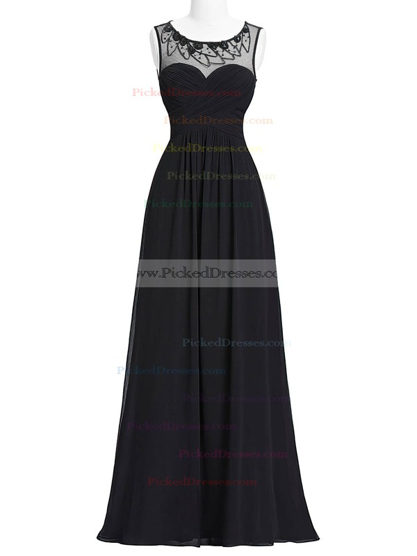 A-line Scoop Neck Floor-length Chiffon Tulle with Beading Bridesmaid Dresses #PDS01013405