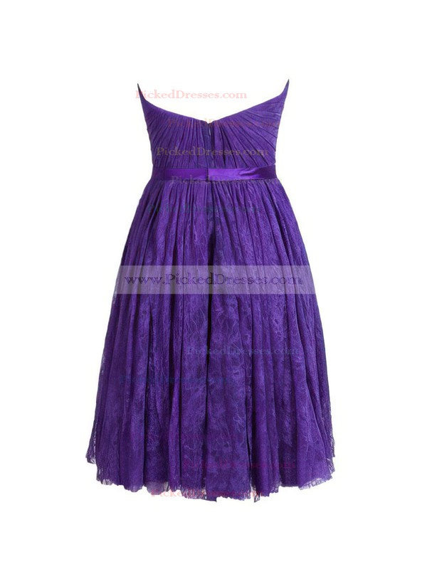A-line Sweetheart Short/Mini Lace with Sashes / Ribbons Bridesmaid Dresses #PDS01013410