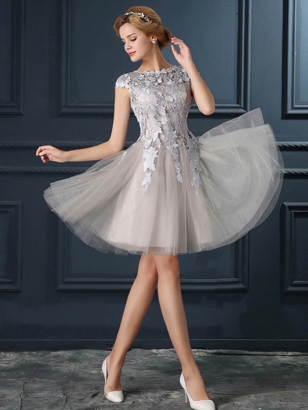 A-line Scoop Neck Short/Mini Tulle with Appliques Lace Bridesmaid Dresses #PDS01013413