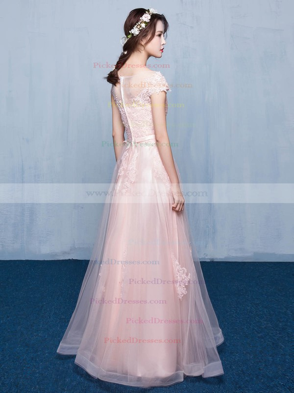 A-line Scoop Neck Floor-length Tulle with Appliques Lace Bridesmaid Dresses #PDS01013414