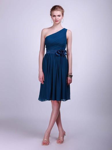 Chiffon A-line One Shoulder Knee-length Flower(s) Bridesmaid Dresses #PDS02013613