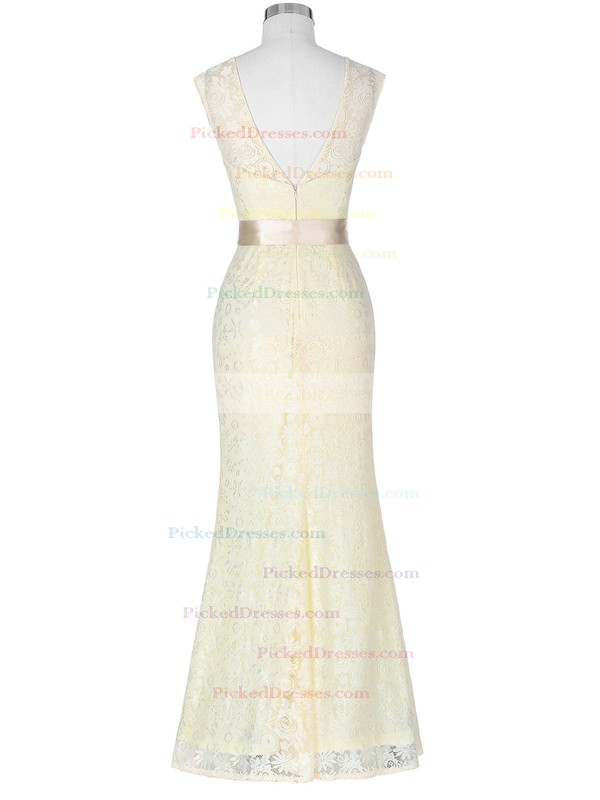 Trumpet/Mermaid Scoop Neck Floor-length Lace with Sashes / Ribbons Bridesmaid Dresses #PDS01013418