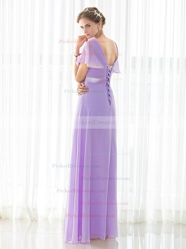 Empire V-neck Floor-length Chiffon with Sashes / Ribbons Bridesmaid Dresses #PDS01013419