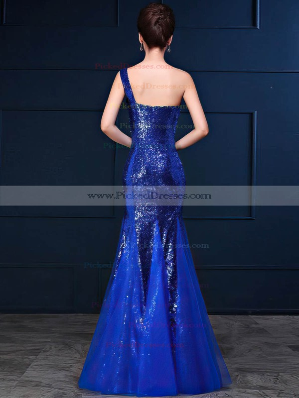 Trumpet/Mermaid One Shoulder Floor-length Tulle Sequined with Ruffles Bridesmaid Dresses #PDS01013420