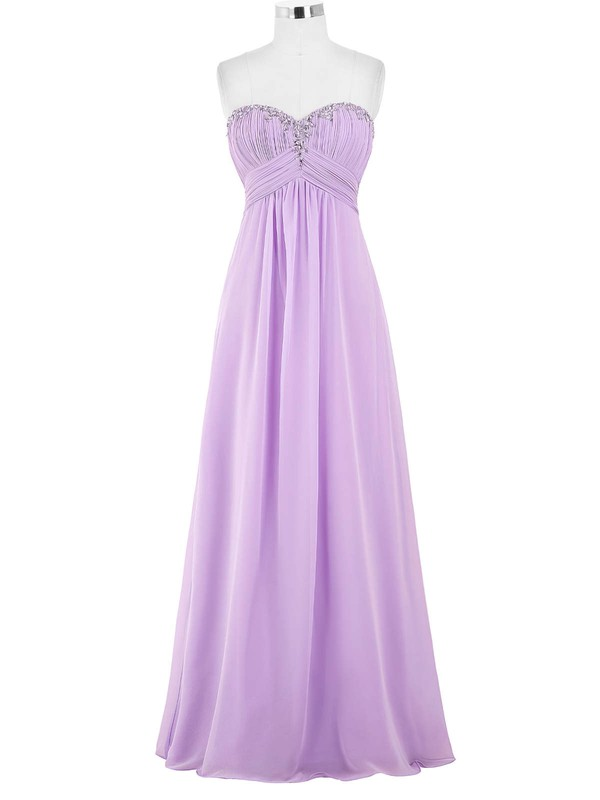 Empire Sweetheart Floor-length Chiffon with Beading Bridesmaid Dresses #PDS01013421