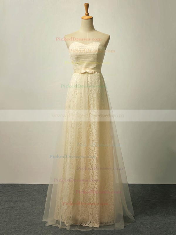A-line Sweetheart Floor-length Lace Tulle with Sashes / Ribbons Bridesmaid Dresses #PDS01013422