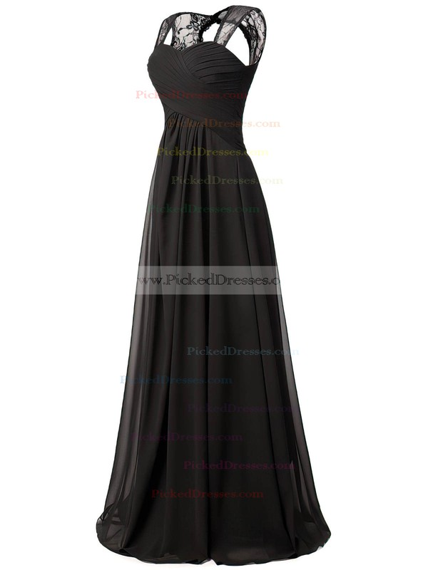 A-line Sweetheart Floor-length Lace Chiffon with Ruffles Bridesmaid Dresses #PDS01013427