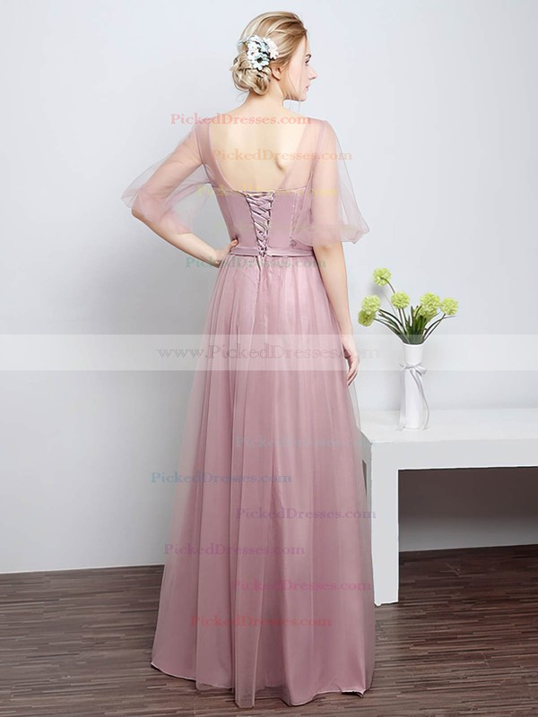 A-line Scoop Neck Floor-length Tulle with Sashes / Ribbons Bridesmaid Dresses #PDS01013430