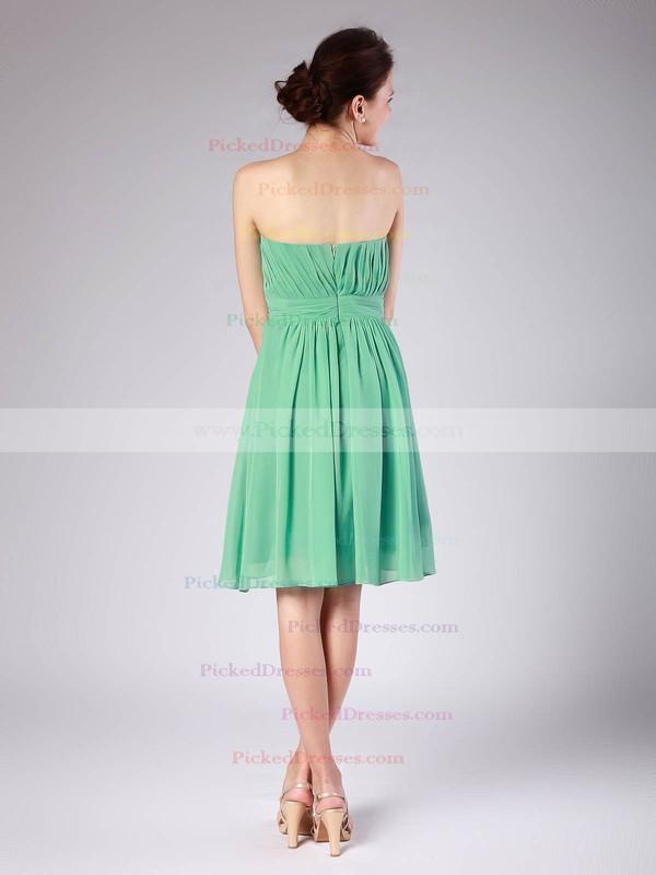 Chiffon A-line Sweetheart Knee-length Pleats Bridesmaid Dresses #PDS02013615
