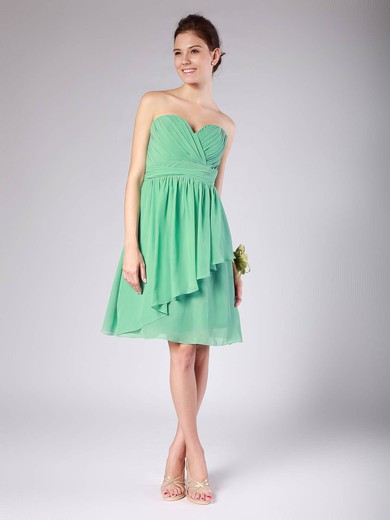 Chiffon A-line Sweetheart Knee-length Pleats Bridesmaid Dresses #PDS02013615