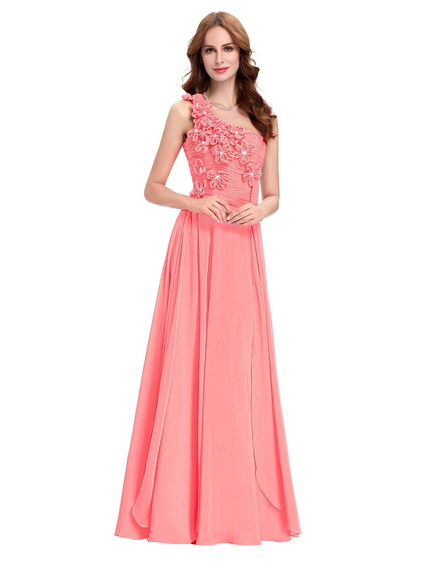 A-line One Shoulder Floor-length Chiffon with Crystal Detailing Bridesmaid Dresses #PDS01013431