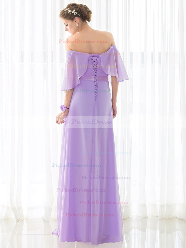 A-line Off-the-shoulder Floor-length Chiffon with Sashes / Ribbons Bridesmaid Dresses #PDS01013433