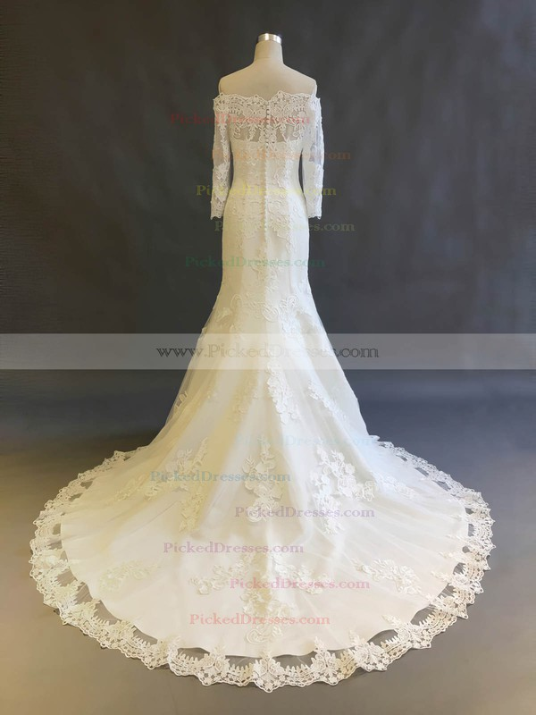 Trumpet/Mermaid Off-the-shoulder Court Train Tulle with Appliques Lace Wedding Dresses #PDS00022896