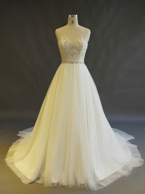 Ball Gown Sweetheart Chapel Train Tulle with Beading Wedding Dresses #PDS00022897