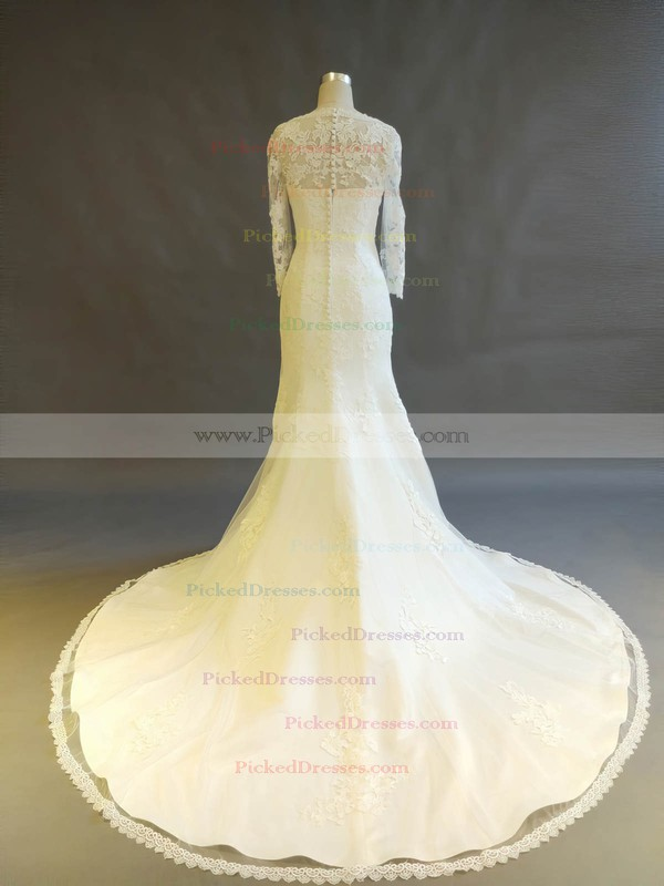 Trumpet/Mermaid V-neck Court Train Tulle with Appliques Lace Wedding Dresses #PDS00022898