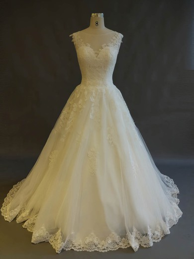 Ball Gown Scoop Neck Sweep Train Tulle with Appliques Lace Wedding Dresses #PDS00022899