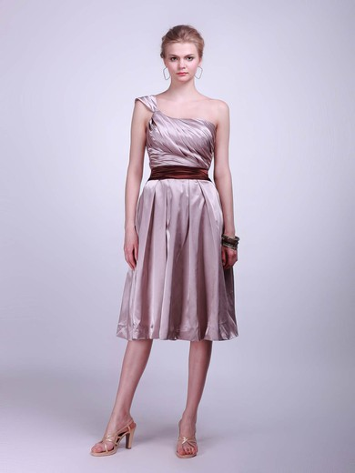 Satin A-line One Shoulder Tea-length Sashes/Ribbons Bridesmaid Dresses #PDS02013625