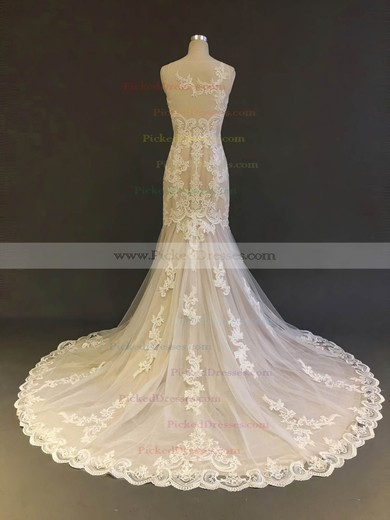 Trumpet/Mermaid Scoop Neck Court Train Tulle with Appliques Lace Wedding Dresses #PDS00022903